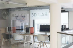 3D lab. New technology laboratory classroom. Startup business modern office interior Royalty Free Stock Photos