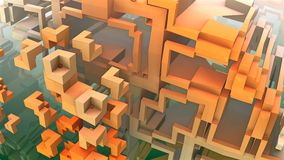3D Labyrinth or Maze. 3D geometric shapes floating in space, 3D Labyrinth or Maze Stock Photography