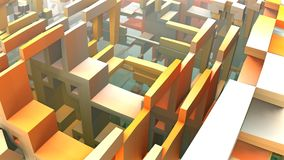 3D Labyrinth or Maze. 3D geometric shapes floating in space, 3D Labyrinth or Maze Stock Photo