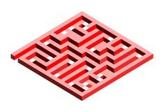 3D labyrinth in two shades of red royalty free illustration
