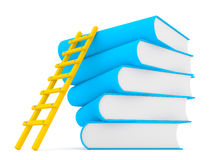 3d ladder along stack of books Stock Photography