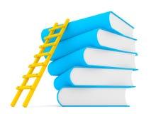 3d ladder langs stapel boeken Stock Fotografie