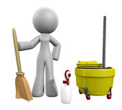3d Lady Broom, Mop, Spray  - Cleaning Services Stock Images