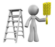 3d Lady Renovation Cleaner, Ladder and Duster Royalty Free Stock Photo