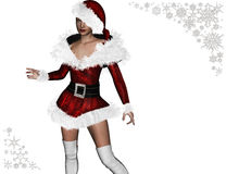 (3D) Lady Santa Claus. Royalty Free Stock Photography