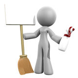 3d Lady Sign - Cleaning Services Stock Photography