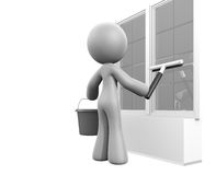 3d Lady Squeegee Window Cleaning Royalty Free Stock Photos