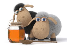 3d Lambs with honey. Farm animals rejoice to honey Royalty Free Stock Photo