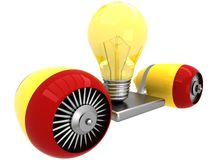 3D lamp on flying engine Stock Photos