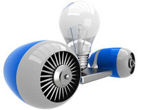 3D lamp on flying engine Royalty Free Stock Photos