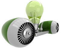 3D lamp on flying engine Stock Photo