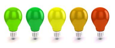 3d lampadina, concetto di rendimento energetico Immagine Stock