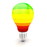 3d lampadina, concetto di rendimento energetico Fotografie Stock Libere da Diritti