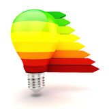 3d lampadina, concetto di rendimento energetico Fotografia Stock