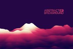 3D landscape Background. Purple Gradient Abstract Vector Illustration.Computer Art Design Template. Landscape with Stock Photos