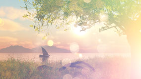 3D landscape with boat on river with vintage effect Royalty Free Stock Photos
