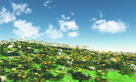 3D landscape with buttercups Royalty Free Stock Photo