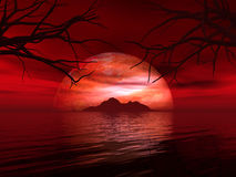 3D landscape with fictional planet and island in sea Royalty Free Stock Image