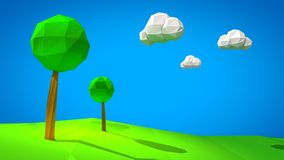 3d landscape low poly illustration Royalty Free Stock Photo
