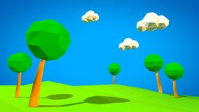 3d landscape low poly illustration Royalty Free Stock Photography