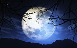 3D landscape with moonlit sky Royalty Free Stock Photography