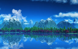 3D landscape of mountains and trees Royalty Free Stock Image