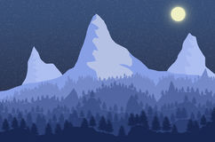 2D landscape. Pine forest on the background of the high mountains in the moonlight Stock Images