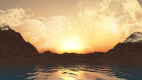 3D landscape with planets and ocean. 3D landscape of fictional planets and the ocean Royalty Free Stock Photo