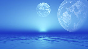 3D landscape with planets over ocean Royalty Free Stock Photos