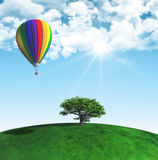 3D landscape with tree and hot air balloon Stock Photo