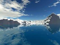 3D landschap 1 van het de Wintermeer Stock Foto's