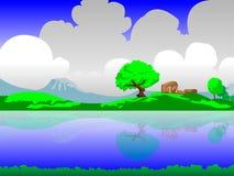 2D Landschapsachtergrond met wolken Royalty-vrije Stock Afbeelding