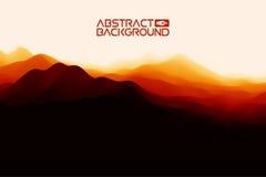 3D landschapsachtergrond Zwarte rode Gradiënt Abstracte Vectorillustratie Computer Art Design Template Landschap met Royalty-vrije Stock Foto