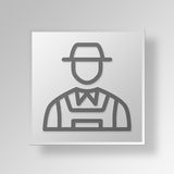 3D Landwirt Button Icon Concept Stockbilder