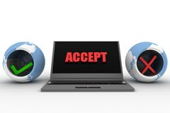 3d laptop accept concept Royalty Free Stock Image