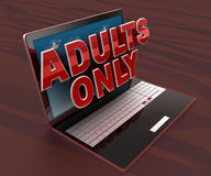 3d laptop and ADULTS ONLY text on screen concept Stock Photos