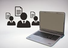 3D Laptop against grey background with business people icons and files Royalty Free Stock Photo