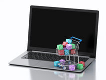 3d Laptop with Apps icons in shopping cart. Royalty Free Stock Photo