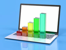 3D Laptop and Bar Graph. Statistics Concept Stock Photography