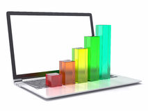 3D Laptop and Bar Graph. Statistics Concept Royalty Free Stock Photography