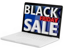 3d laptop with black friday sale. On white background Stock Photos