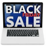 3d laptop with black friday sale Stock Images