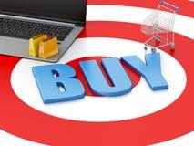 3d Laptop Boodschappenwagentje van PC op doel Het concept van de elektronische handel stock illustratie