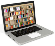 3d laptop with book shelves Stock Image