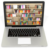 3d laptop with book shelves Royalty Free Stock Image