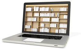 3d laptop with book shelves Royalty Free Stock Photography