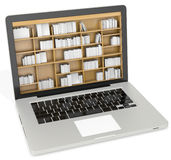 3d laptop with book shelves Stock Images