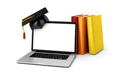 3d laptop and books. On white background Royalty Free Stock Image