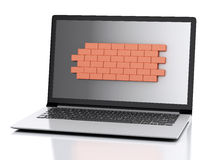 3d Laptop with brick wall. Firewall concept. 3d renderer image. Laptop with brick wall. Firewall concept.  white background Royalty Free Stock Image