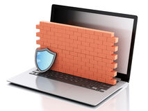 3d Laptop with brick wall. Firewall concept. 3d renderer image. Laptop with brick wall. Firewall concept.  white background Stock Photo